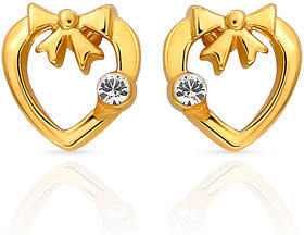 Mahi Gold Plated Heart Earrings (ER1103694G)