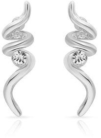 Mahi Rhodium Plated Swirls Earrings (ER1103690R)