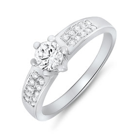 Mahi Rhodium Plated Cosy Sparkle Ring (FR1100077)