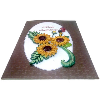 Handmade Happy Anniversary paper quilling greeting card
