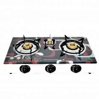 SURYA CRYSTAL Autoignition 3 burner gas stove glass top