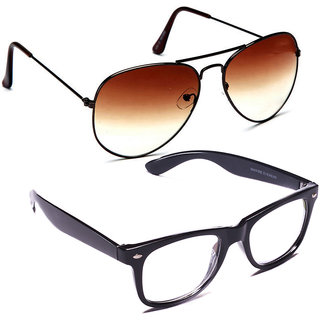Combo of Sunglasses With Brown Aviator and Transparent Wayfarer Style in Black