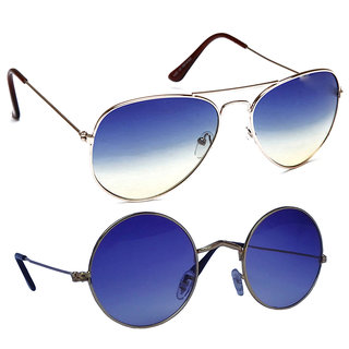 aaf2eb04814e9 85%off Combo of Sunglasses With Blue Aviator and vintage Gandhi Style in  Multi Shade