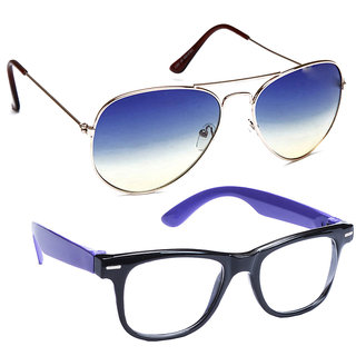 Combo of Sunglasses With Blue Aviator and Transparent Wayfarer Style in Blue