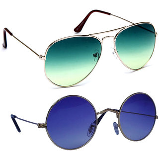 Combo of Sunglasses With Green Aviator and vintage Gandhi Style in Blue Shade