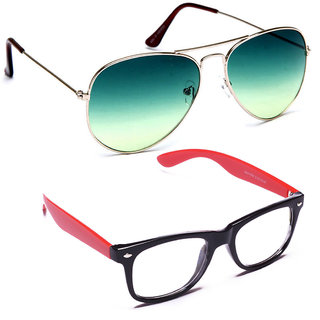Combo of Sunglasses With Green Aviator and Transparent Wayfarer Style in Red