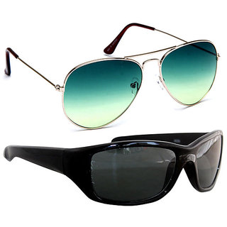 Combo of Sunglasses With Green Aviator and Sporty in Black