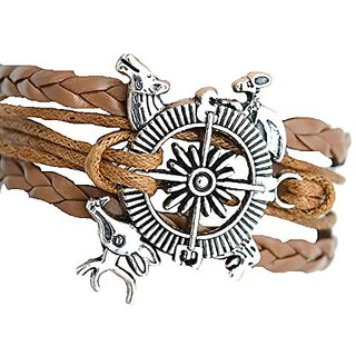 GirlZ! Game of Thrones Song of Ice and Fire Compass Charm Bracelet  Brown