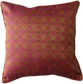 Nirantara Cushion Cover Contrast Pipping along with Zipper, Handwoven fancy silk fabric