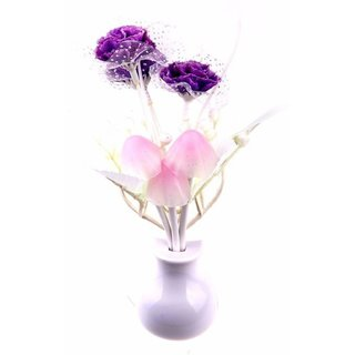 LUXANTRA Mushroom Auto Sensor LED Color Changing Night Lamp Wall Lamp Light -Purple
