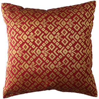 Nirantara Cushion Cover Base colour red, front with golden jamawar work and back is cotton silk material in plane colour