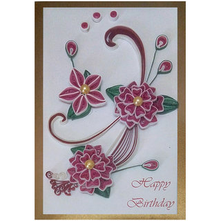 Handmade Paper Quilling Happy Birthday Greeting Card