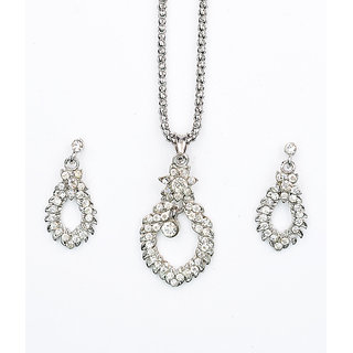 Asian Pearls & Jewels Silver Pendant Set With Austrian Diamonds