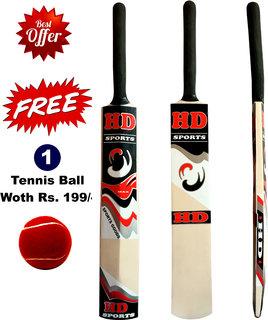 HD Cricket Tennis Bat Full Size with Free Tennis Ball