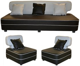 Gioteak Butterfly 5 seater sofa set in black  white color with 5 attractive cushions