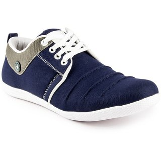 Cyro Blue Canvas Air Mix Lace-up Smart Casual Shoes For Men