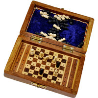 Travellers Mini Chess Board Wooden Handicraft Mini Chess Board