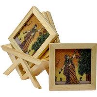 Precious Gemstone Painting Tea Coaster Set Wooden Tea Coaster
