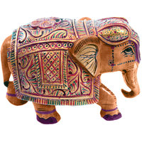 Wooden Hand Carved Painted Elephant Handicraft Elephant Gift Item