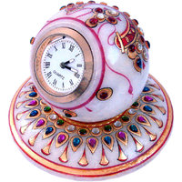 Gold Painted Handmade Round Marble Table Clock Decorative Handicraft