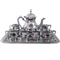 Pure White Metal Meenakari Work Royal Tea Set Metal Item Tea Set