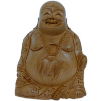 Good Luck Laughing Buddha In Fine Carved Wood Handicraft Item