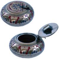 Pure Brass Meenakari Work Ash Tray Handicraft Brass Ash Tray
