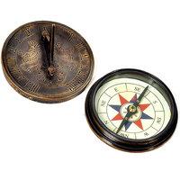 Antique Handicraft Stylish Unique And Useful Brass Sundial Compass