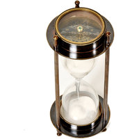 Real Brass Antique Functional Useful Compass With 5 Minute Sand Timer