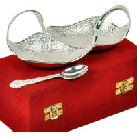 Silver Polished Brass Duck Shaped Mouth Freshener Bowl Set With Spoon