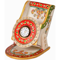 Kundan Meenakari Creative Handicraft Marble Mobile Stand With Clock