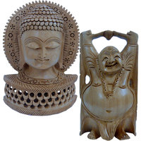 Buy Handcarved Wooden Lord Buddha Statue N Get Laughing Buddha Free