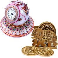 Buy Gold Painted Marble Table Clock N Get Wooden Tea Coaster Free