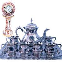 Buy Pure Brass Meenakari Royal Tea Set N Get Marble Table Clock Free