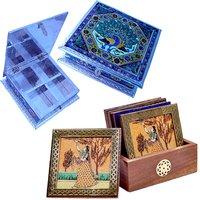 Buy Royal Meenakari Work Dryfruit Box N Get Brass Tea Coasters Free