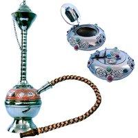 Buy Pure Brass Colorful Meenakari Real Hukka N Get Ash Tray Free