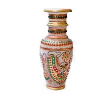 Jaipur Raga Gold Embossed Flower Pot With Meenakari And Kundan Work