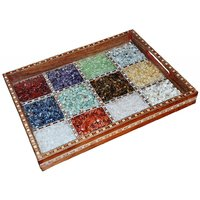 JaipurRaga Beautiful Real Gemstone In Glass Frame Wooden Serving Tray