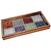 JaipurRaga Efficient Original Gemstone In Glass Frame Wooden Serving Tray
