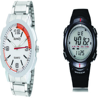 Howdy Combo Of Mens Analog Watch With Digital Watch