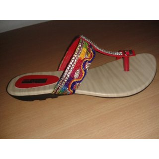 Ladies Faux Leather Flat Chappal Multicolored