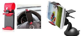 Car Steering Wheel Universal Mobile Phone Socket Stand Holder Clip + Car Mobile Holder for all Car