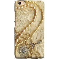 FUSON Designer Back Case Cover for Vivo V5 (Perals Diamonds Pendent Gold Hand Embroidery Stitches)