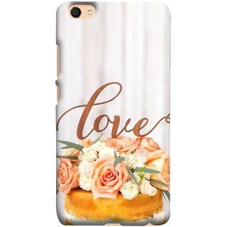 FUSON Designer Back Case Cover for Vivo V5 Cake Pink Rose Birthday