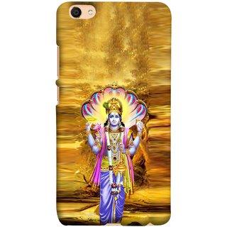 FUSON Designer Back Case Cover for Vivo V5 (Krishna With Murli Sheshnag Morpankh Lotus Makhanchor)