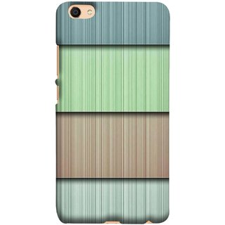FUSON Designer Back Case Cover for Vivo V5 (Strips Green Gray Sunmica Plywood Back Art)