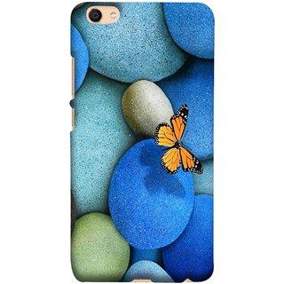 FUSON Designer Back Case Cover for Vivo V5 (Butterfly Rocks Beautiful Colorful Blue Splendo Butterfly)