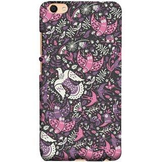 FUSON Designer Back Case Cover for Vivo V5 (Pink White Beige Colour Leaves Flowers Walldesign Gift )