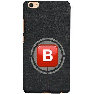 FUSON Designer Back Case Cover for Vivo V5 (B Is Ok Initial Red Glossy Round Icon B Random Red)