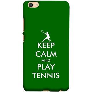 FUSON Designer Back Case Cover for Vivo V5 (Tennis Player Logo Keep Silent And Cool Game On)